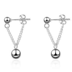 NEW 925 STERLING SILVER PLATED BEAD CHAIN EARRINGS